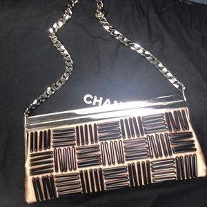 CHANEL Bags - CHANEL rose satin frame clutch black bead design